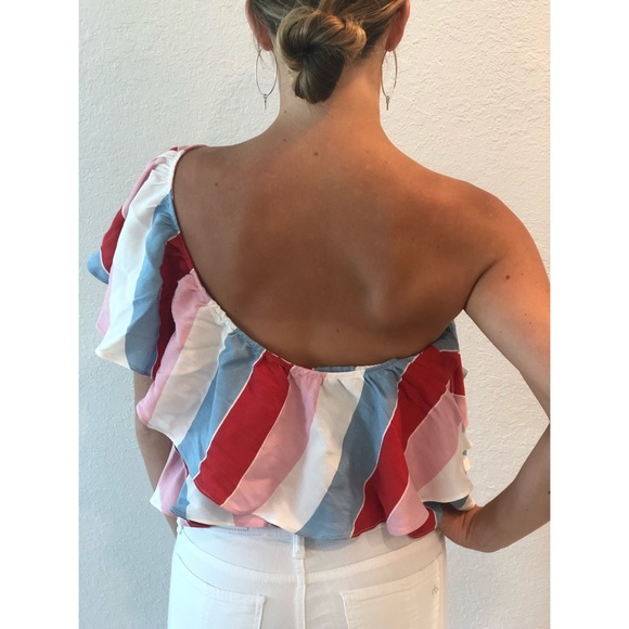 NEW! Striped & Ruffled One-Shouldered Top